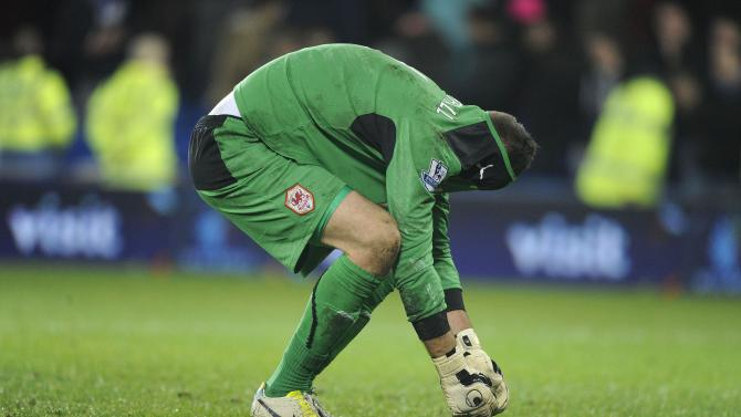 Cardiff City's Marshall hides head in shirt after Sunderland's second goal during English Premier League soccer match in Cardiff