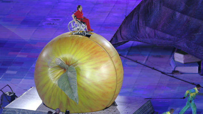 Performers take part at opening ceremony of London 2012 Paralympic Games in Olympic Stadium