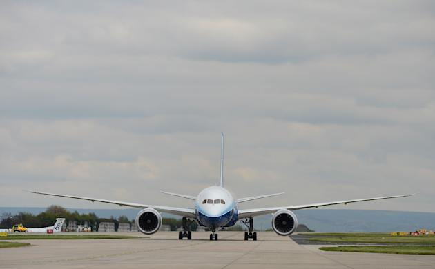 The New Boeing Dreamliner Touches Down At Manchester Airport