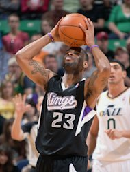 SALT LAKE CITY, UT - MARCH 30: Marcus Thornton #23 of the Sacramento Kings becomes frustrated during his matchup against the Utah Jazz at Energy Solutions Arena on March 30, 2012 in Salt Lake City, Utah. (Photo by Melissa Majchrzak/NBAE via Getty Images)