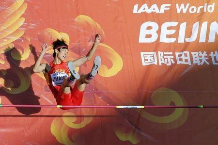 Zhang of China competes in men's high jump qualification at 15th IAAF World Championships in Beijing