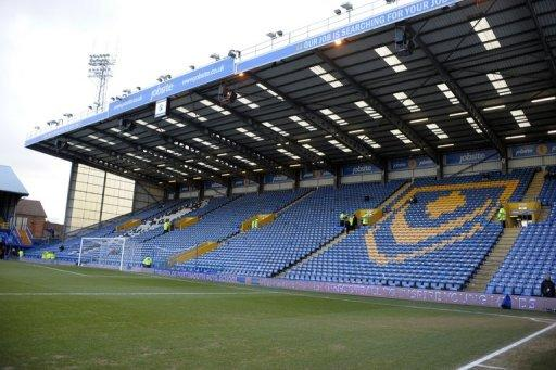 The empty Grandstand at Fratton park in Portsmouth