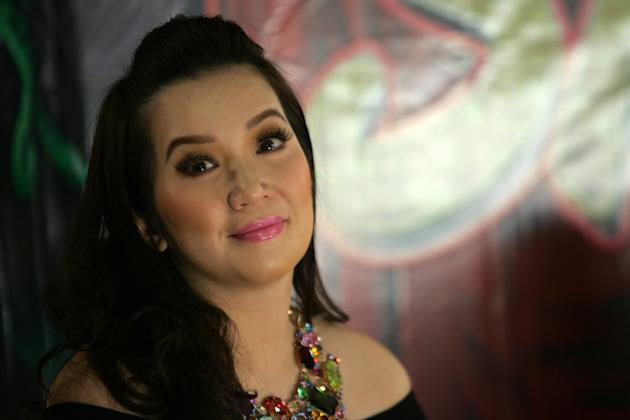 "Kris Aquino is seen during the ""Sisterakas"" press conference held in Quezon City, northeast of Manila, on 08 December 2012. ""Sisterakas"", Star Cinema and Viva Films official entry to the 2012 Metro Manila Film Festival, will hit theaters nationwide beginning 25 December 2012. (Voltaire Domingo/NPPA Images)"