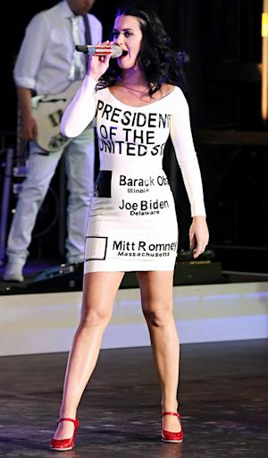 PICTURE: Katy Perry Wears Presidential Ballot Dress, Supports Obama in Las Vegas