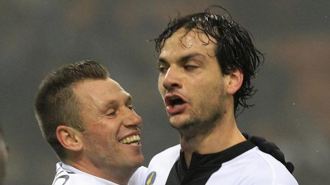 Parma's Parolo celebrates with his team mate Cassano after scoring Parma's second goal against Inter Milan during their Italian Serie A soccer match in Milan