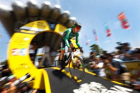 Europcar rider Thomas Voeckler of France cycles during the individual time-trial first stage of the 102nd Tour de France cycling race in Utrecht