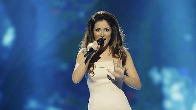 Zlata Ognevich of the Ukraine performs her song Gravity during the final of the Eurovision Song Contest at the Malmo Arena in Malmo, Sweden, Saturday, May  18, 2013. The contest is run by European television broadcasters with the event being held in Sweden as they won the competition in 2012. (AP Photo/Alastair Grant)