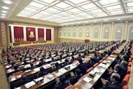 This picture taken by North Korea's official Korean Central News Agency on March 31, 2013 shows the plenary meeting of the Central Committee of the Workers' Party of Korea in Pyongyang