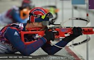 Norway's Ole Einar Bjoerndalen shoots in the Men's Biathlon 10 km Sprint at the Laura Cross-Country Ski and Biathlon Center during the Sochi Winter Olympics on February 8, 2014 in Rosa Khutor