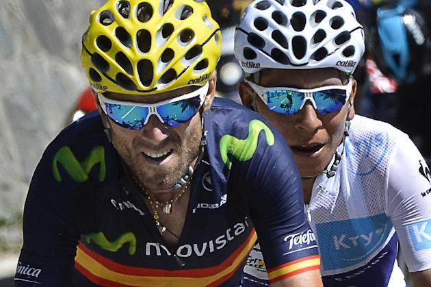 Spain's Alejandro Valverde (L) and Colombia's Nairo Quintana ride during the 102nd edition of the Tour de France cycling race on July 25, 2015, between Modane Valfrejus and Alpe d'Huez, Fr