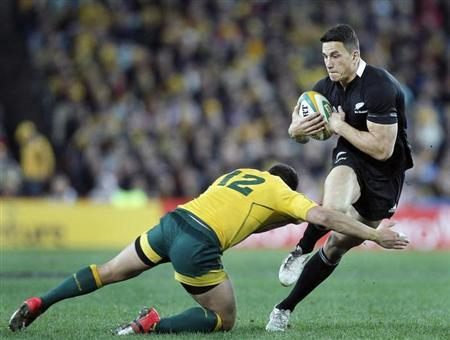 New Zealand All Blacks' Sonny Bill Williams is tackled by Australia's Wallabies' Anthony Fainga'a during their Bledisloe Cup rugby union test match in Sydney