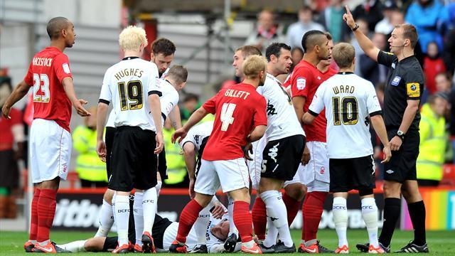 Championship - Derby win heated clash with rivals Forest