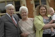 The world's first IVF baby Louise Brown (2nd R) posing with her son Cameron (R), her mother Lesley Brown (2nd L) and IVF pioneer Professor Robert Edwards, in 2008. Lesley Brown has died aged 64, her family said on Wednesday