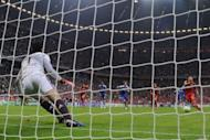 """Chelsea's Czech goalkeeper Petr Cech (left) is to jump to stop the penalty kicked by Bayern Munich's Dutch midfielder Arjen Robben during the UEFA Champions League final match at the Fussball Arena stadium in Munich on May 19. FIFA president Sepp Blatter described having penalties to determine the outcome of games as a """"tragedy"""" that ripped the heart out of the game"""