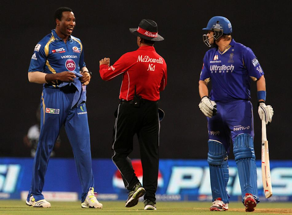 Mumbai Indian player Kieron Pollard and Rajasthan Royals player Shane Watson gets into a argument during match 66 of the Pepsi Indian Premier League ( IPL) 2013  between The Mumbai Indians and the Raj