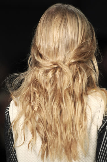 Peter Pilotto's loose waves and low knot for a half up look is so pretty and beachy.