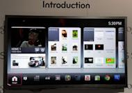 A TV displays Google TV on its screen in January 2012. Google will have sessions at its I/O gathering devoted to its social network and its Google TV platform for streaming Internet content to home entertainment centers