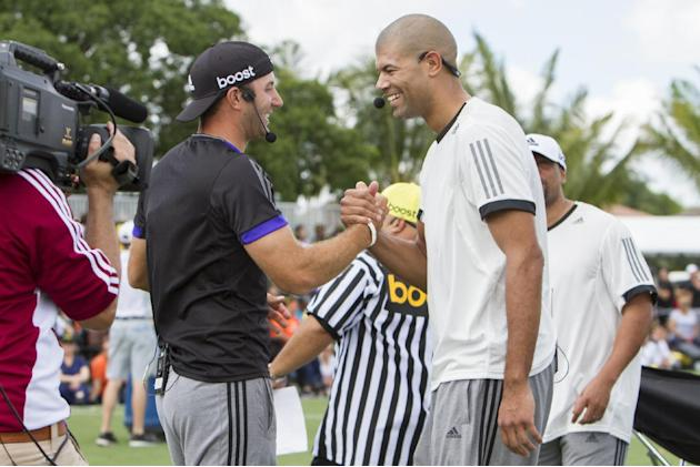 PGA Professional Dustin Johnson and former NBA superstar Shane Battier square off in a three point shoot out  on Tuesday March 03 2015 during the adidas Golf event at Trump National Doral. – Doral, Fl