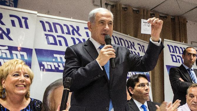 Israeli Prime Minister and Likud party candidate in general elections, Benjamin Netanyahu, speaks at a campaign meeting with members of Israel's French Jewish community on March 10, 2015, in Netanya