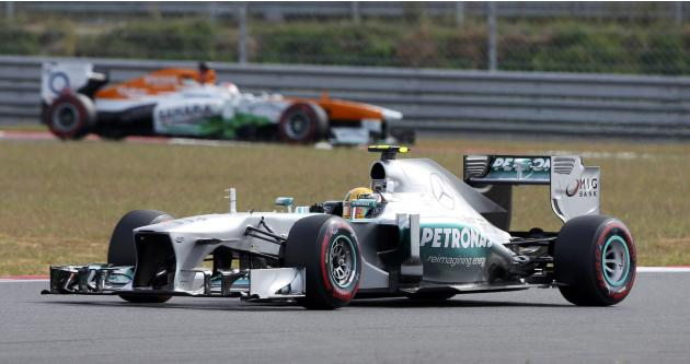 Mercedes Formula One driver Hamilton drives during the qualifying session for the Korean F1 Grand Prix in Yeongam