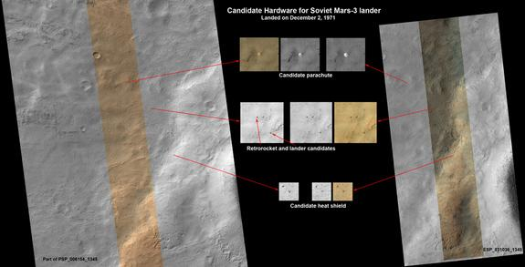This set of images shows what might be hardware from the Soviet Union's 1971 Mars 3 lander, seen in a pair of images from the High Resolution Imaging Science Experiment (HiRISE) camera on NASA's Mars Reconnaissance Orbiter.