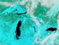 A false color image of the frigid Great Lakes on Feb. 19, 2014.