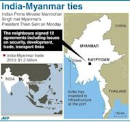 Graphic on the visit of India's Prime Minister Manmohan Singh to Myanmar