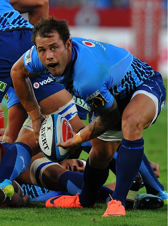 Bulls Francois Hougaard plays on April 7, 2012 during a Super 15 Rugby Match in Pretoria, South Africa