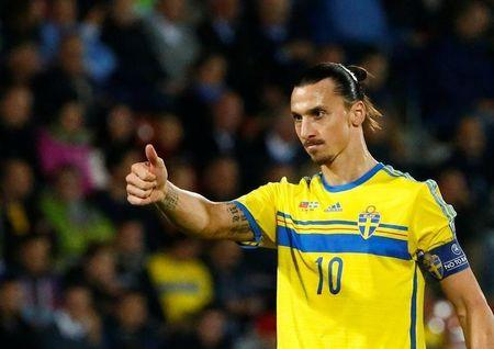 Sweden's Ibrahimovic gestures during their soccer match against Liechtenstein in Vaduz