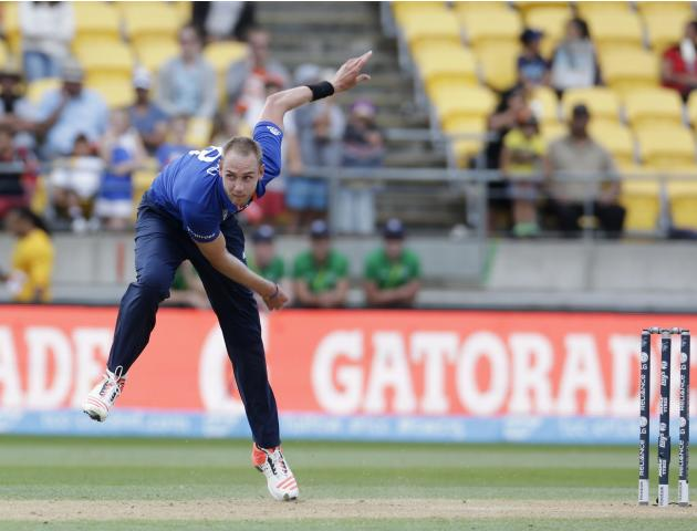 England's Broad bowls against Sri Lanka during their Cricket World Cup match in Wellington