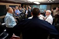 In this official White House photo, President Barack Obama discusses the mission to kill Osama bin Laden with his national security team in the Situation Room of the White House on May 1, 2011. Obama has sat for an extraordinarily rare TV interview in the Situation Room to air next week on the first anniversary of the raid that killed bin Laden