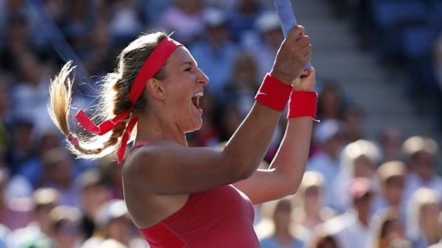 DATE IMPORTED:September 6, 2013Victoria Azarenka of Belarus celebrates winning match point against Flavia Pennetta of Italy at the U.S. Open