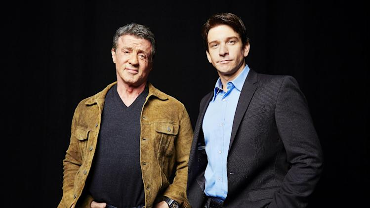 "In this Wednesday, Oct. 16, 2013 photo, Sylvester Stallone, left, who played Rocky Balboa in the 1976 film ""Rocky,"" poses with Andy Karl, who will play Rocky Balboa in the upcoming Broadway musical ""Rocky,"" in New York. (Photo by Dan Hallman/Invision/AP)"