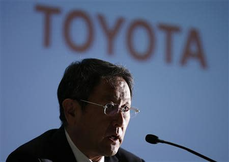 File photo shows Toyota Motor Corp President Akio Toyoda speaking at a news conference in Nagoya