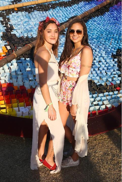 Bailey Seagraves, left, and Capri Zalaya of San Francisco attend the 2015 Coachella Music and Arts Festival on Saturday, April 18, 2015, in Indio, Calif. (Photo by Rich Fury/Invision/AP)