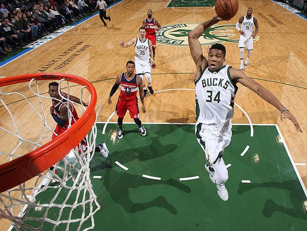 Giannis Antetokounmpo takes it to the tin, at home. (Getty Images)