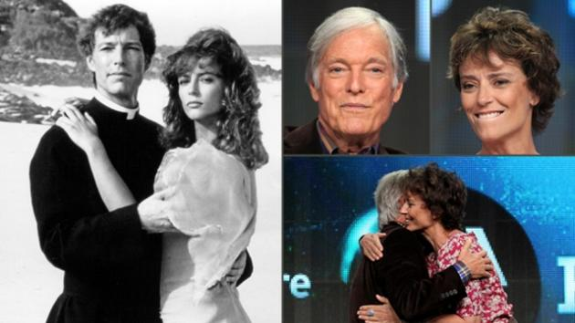 Richard Chamberlain and Rachel Ward in 'The Thorn Birds' in 1983, and meeting again on stage in Beverly Hills, July 22, 2012 -- Getty Images