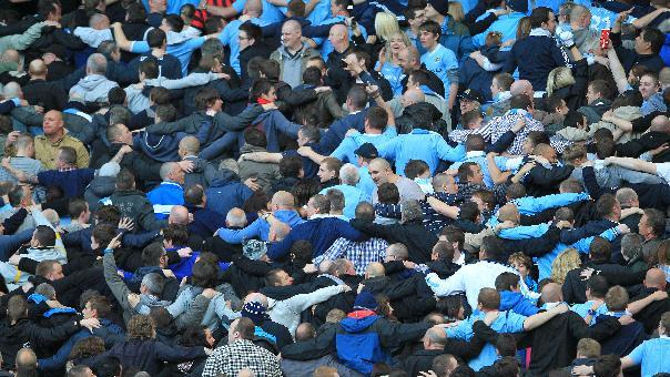 Claims of a clash between Spanish police and Manchester City fans have been reported