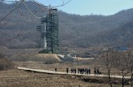 The Unha-3 rocket sitting on the launch pad at North Korea's Tangachai-ri space center on April 8. North Korea could carry out a long-range missile test in the next three weeks, with new satellite images showing increased launch site activity, according to satellite operator DigitalGlobe Inc