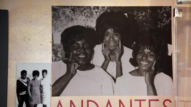 "This March 12, 2013 photo, shows photos of the Andantes, part of the exhibit, ""Motown Girl Groups: The Grit, the Glamour, the Glory""  at the Motown Historical Museum in Detroit. The Andantes are featured _ with equal billing _ alongside the Supremes, Vandellas, Marvelettes and Velvelettes. (AP Photo/Paul Sancya)"