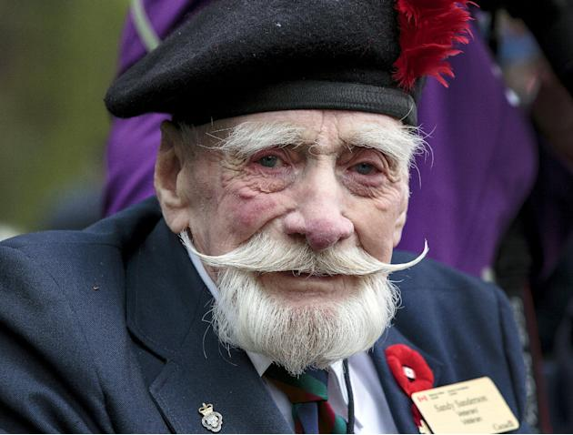 Canadian World War Two veteran Sanderson poses at the Government of Canada ceremony of remembrance at the Canadian war cemetery in Holten