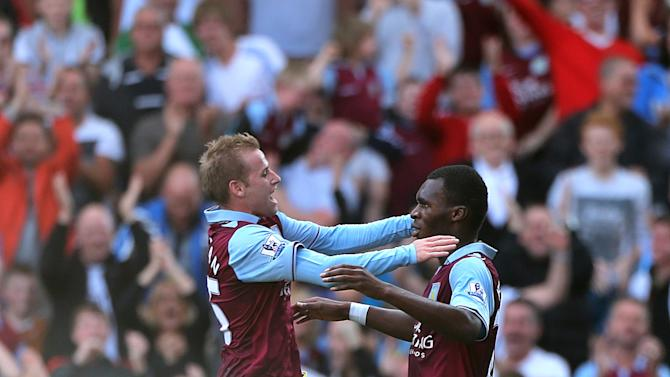 Christian Benteke, right, scored late on in Aston Villa's 2-0 victory over Swansea