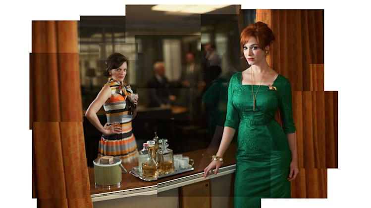"Elisabeth Moss as Peggy Olson and Christina Hendricks as Joan Harris in ""Mad Men."""
