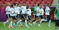 German players during a team training session in Warsaw on June 27. Germany are seeking their first trophy since lifting the Euro '96 title