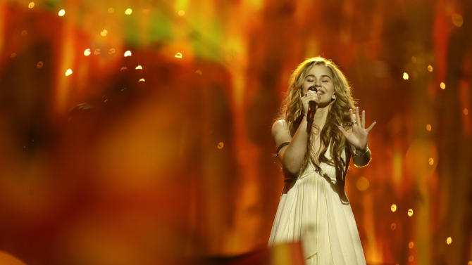 Emmelie de Forest of Denmark performs her song Only Teardrops during the final of the Eurovision Song Contest at the Malmo Arena in Malmo, Sweden, Saturday, May 18, 2013. The contest is run by European television broadcasters with the event being held in Sweden as they won the competition in 2012. (AP Photo/Alastair Grant)