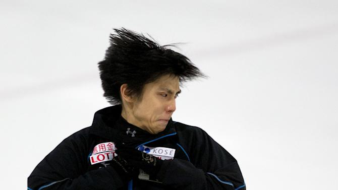 Yuzuru Hanyu of Japan warms up for a practice session  at the Autumn Classic International skating competition in Montreal