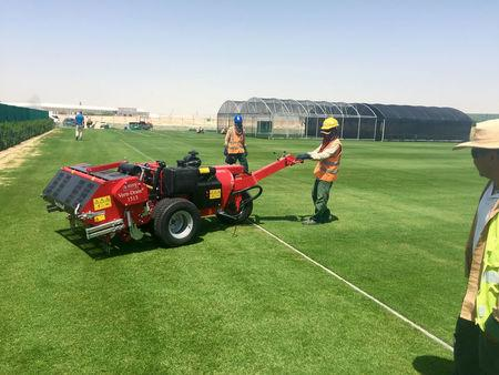 Indian workers mow grass being grown at a research and development centre in Murakh, Doha
