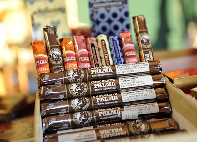 Candy-flavored cigars appear on display at a custom tobacco shop in Albany, N.Y., Friday, May 31, 2013. The American Cancer Society is pushing to make New York the first state to enact a comprehensive
