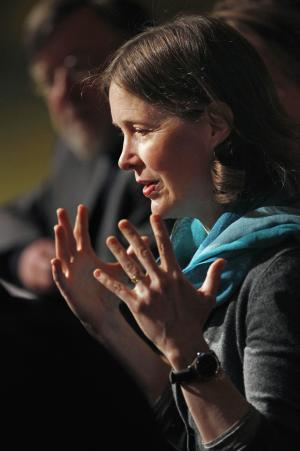 """Award-winning author Ann Patchett speaks during a news conference at the Lyric Opera of Chicago Tuesday, Feb. 28, 2012, in Chicago. The Lyric announced it will premiere """"Bel Canto"""" in 2015, based on Patchett's novel of the same name inspired by a hostage crisis in Peru. (AP Photo/M. Spencer Green)"""