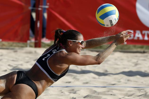 Argentina's Georgina Klug saves a point against Brazil during their women's gold medal volleyball beach match in Santiago